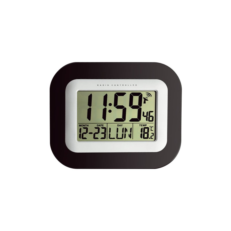 horloge lcd radio pilot e avec calendrier et temp rature. Black Bedroom Furniture Sets. Home Design Ideas