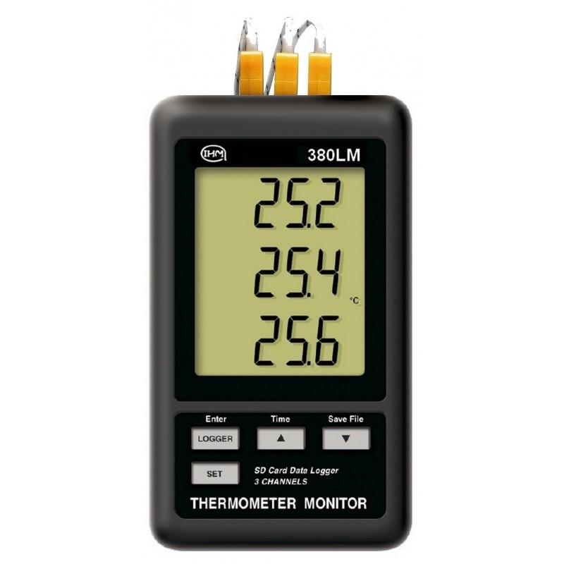 Enregistreur thermomètre 3 canaux type K + 3 sondes filaires type K