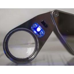 Loupe pliante de poche 20 X - Métal - Led + UV