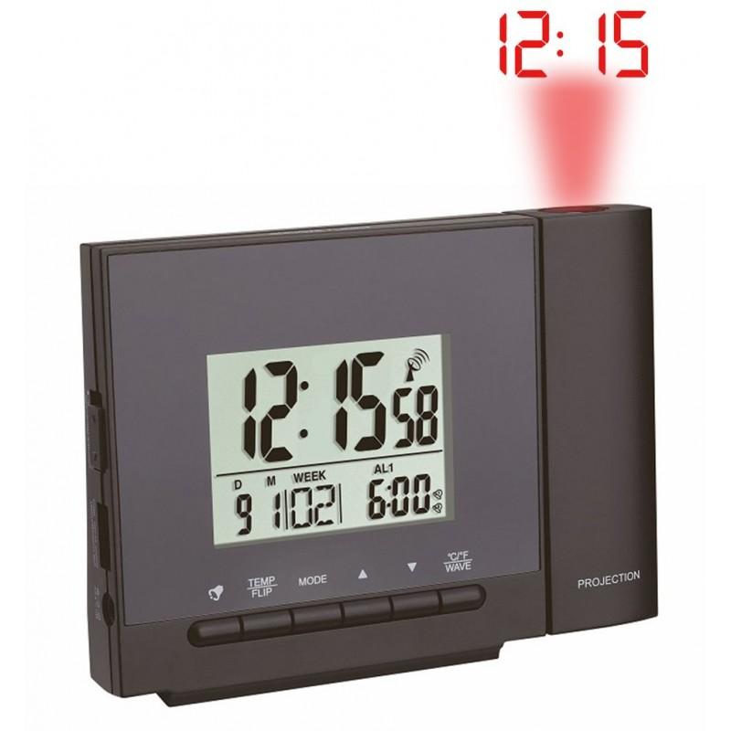 Réveil digital radio-pilotée – Projecteur – Chargeur USB – Coloris Noir