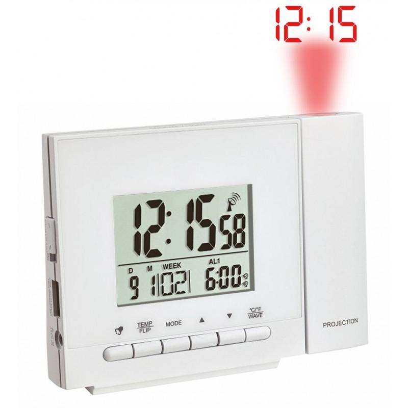 Réveil digital radio-pilotée – Projecteur – Chargeur USB – Coloris Blanc