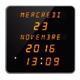 Horloge LEDs radio-pilotée - Calendrier jours / date / mois / année