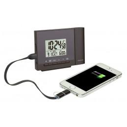 Reveil digital radio-pilotee – Projecteur – Chargeur USB – Coloris Noir