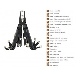 Pince militaire multifonctions Surge Black® - 21 outils
