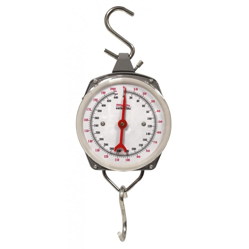Dynamomètre mécanique à crochet - Portée 200 kg / Lecture 1 kg