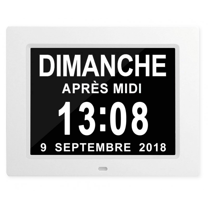 Horloge/Calendrier LCD avec affichage de la date en toutes lettres - Jusqu''à 8 alarmes personnalisables