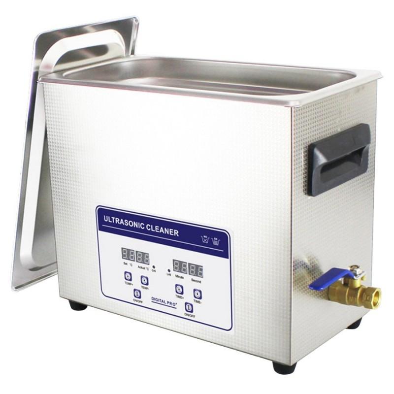 Bac à ultrasons professionnel 6 L - Boîtier et cuve inox - Robinet de vidange