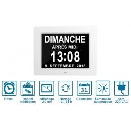 Horloge/Calendrier LCD avec affichage de la date en toutes lettres - Jusqu'à 8 alarmes