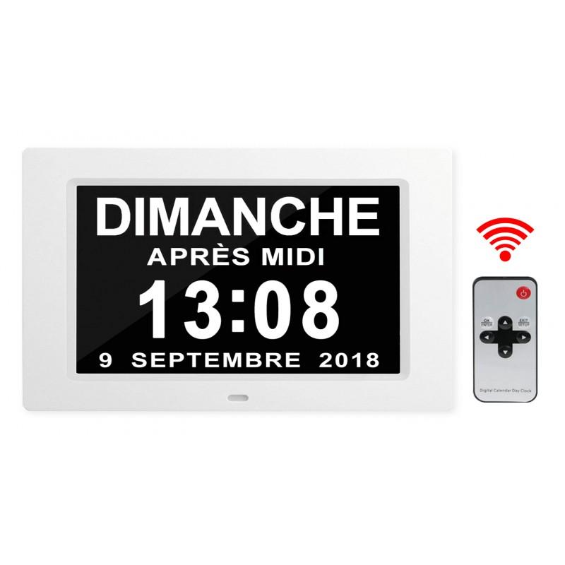 Horloge/Calendrier LCD avec télécommande - Date en toutes lettres - Jusqu'à 12 alarmes - Cadre photo/vidéo numérique