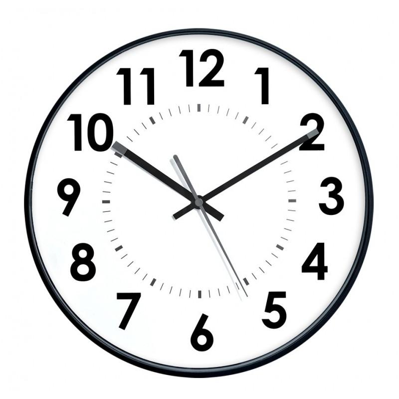 Horloge murale diam. 300mm - Lunette ABS noir