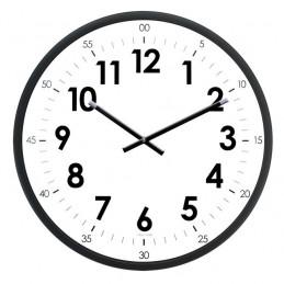 Horloge murale diam. 400mm - Lunette ABS noir - Graduation heures/minutes