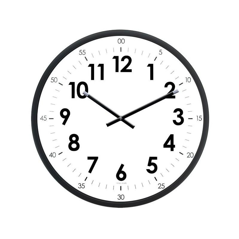 Horloge Murale Diam 400mm Lunette Abs Noir Graduation Heures Minutes