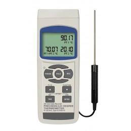 Thermomètre datalogger PT100 2 canaux avec 1 sonde livré. Connexion pour sondes type K, J, E, T ,R et S