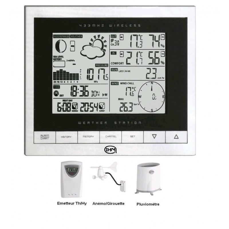 Station météo professionnelle 200 mémoires multiparamètres