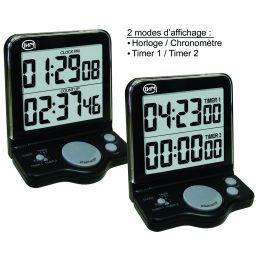 Compteur de table - 2 décompteurs - Horloge - Double affichage