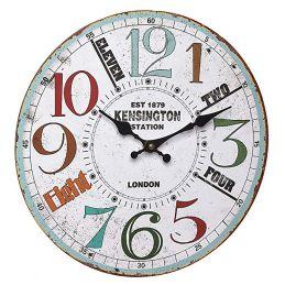 "Horloge murale 330mm - Cadran ""Vintage Kensington Station"""