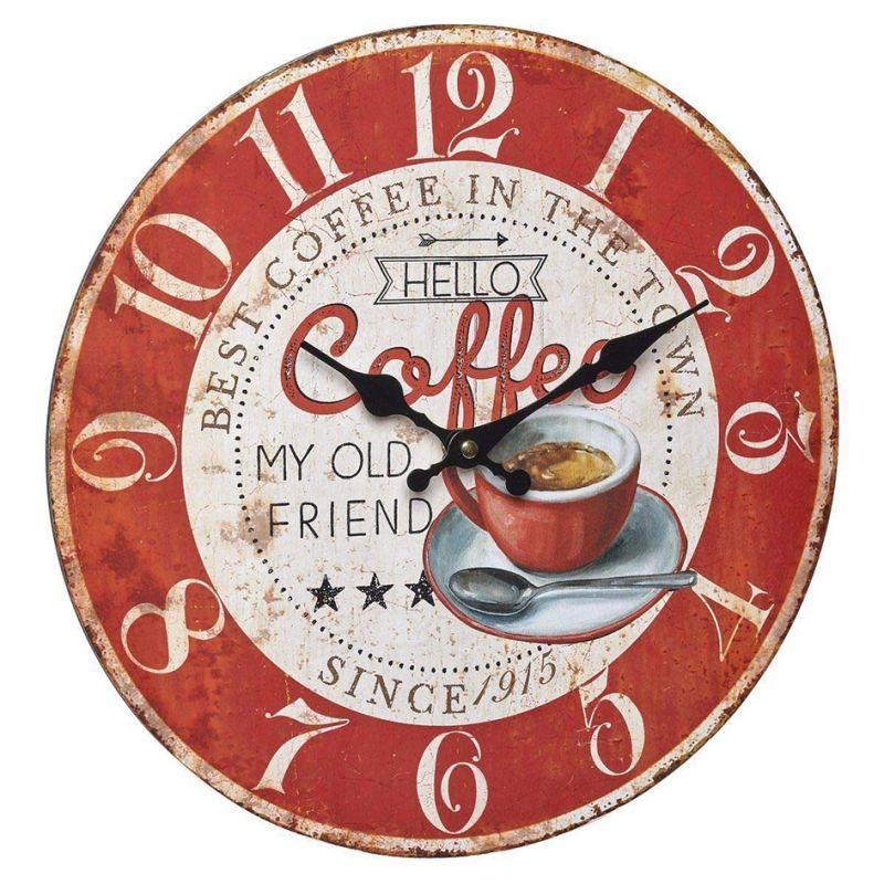 """Horloge murale 330mm - Cadran rouge """"Vintage Coffee"""""""
