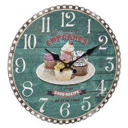"""Horloge murale 330mm - Cadran rouge """"Vintage Cup cake"""""""