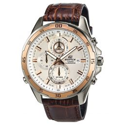 Montre Casio Edifice  - Chrono / Dateur - Bracelet cuir marron