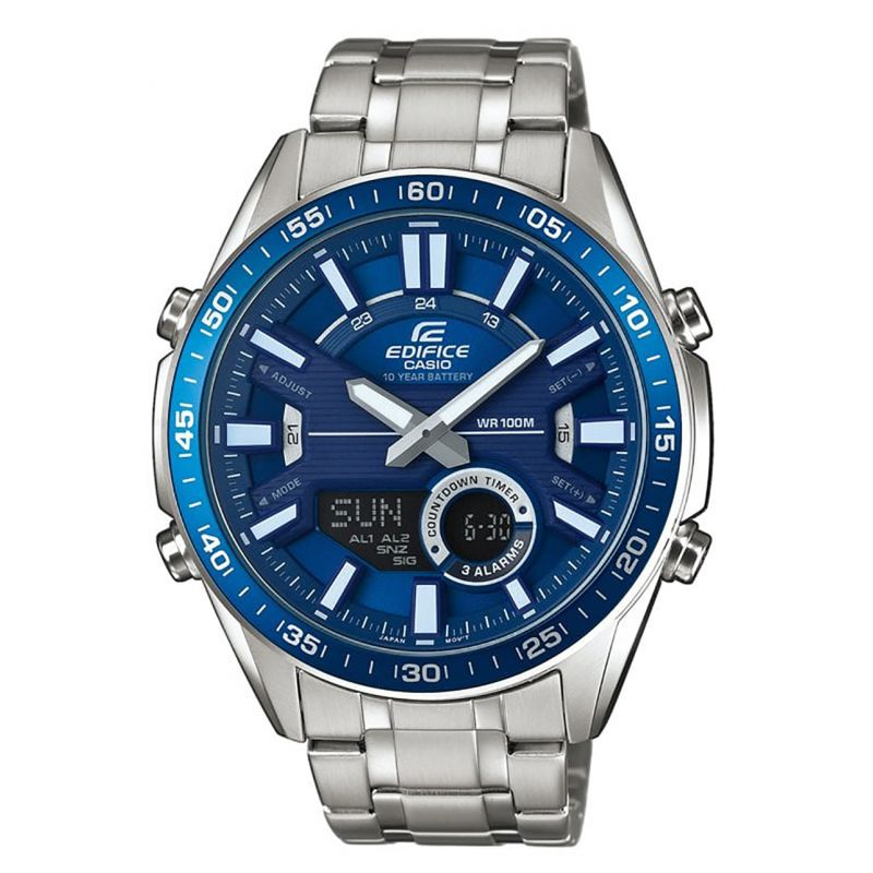 Montre Casio Edifice avec boîtier et bracelet métal - Cadran Bleu