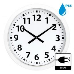 Horloge à aiguilles diam. 600mm - Boîtier blanc étanche IP65 - Alim 230 VAC