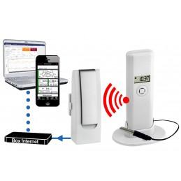 Pack Double Thermomètre ambiant et filaire + Hygromètre Connecté Pro Observer pour PC et smartphone + Récepteur Hub