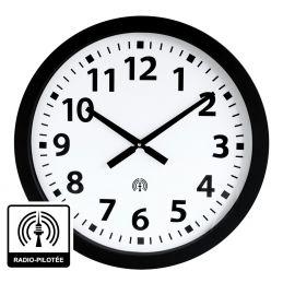 Horloge à aiguilles diam. 600mm - Radio-pilotée - Boîtier noir