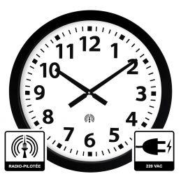 Horloge à aiguilles diam. 600mm - Radio-pilotée - Boîtier noir - Alim 230 VAC