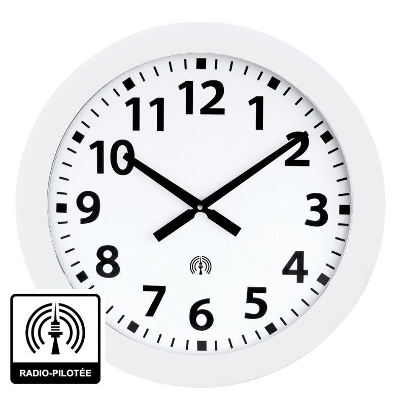 Horloge à aiguilles diam. 600mm - Radio-pilotée - Boîtier blanc
