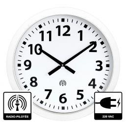Horloge à aiguilles diam. 600mm - Radio-pilotée - Boîtier blanc - Alim 230 VAC