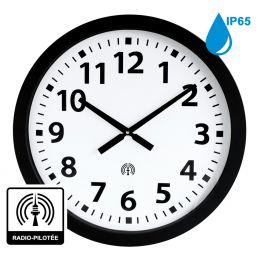 Horloge à aiguilles diam. 600mm - Radio-pilotée - Boîtier noir étanche IP65
