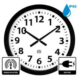 Horloge à aiguilles diam. 600mm - Radio-pilotée - Boîtier noir étanche IP65 - Alim 230 VAC
