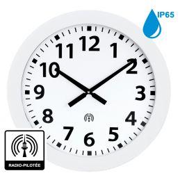 Horloge à aiguilles diam. 600mm - Radio-pilotée - Boîtier blanc étanche IP65